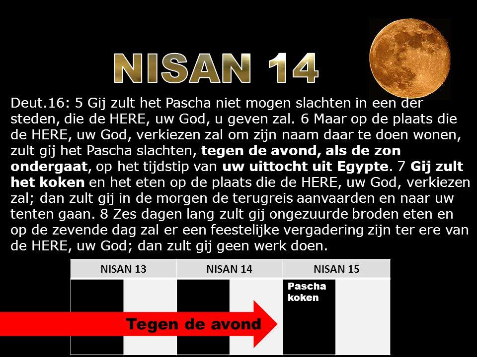 NISAN 13NISAN 14NISAN 15 Pascha koken Deut.16: 5 Gij zult het Pascha niet mogen slachten in een der steden, die de HERE, uw God, u geven zal. 6 Maar o