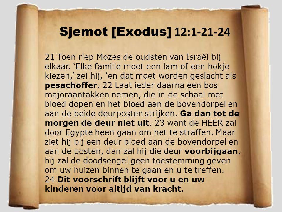 Sjemot [Exodus] 12:1-21-24 21 Toen riep Mozes de oudsten van Israël bij elkaar. 'Elke familie moet een lam of een bokje kiezen,' zei hij, 'en dat moet