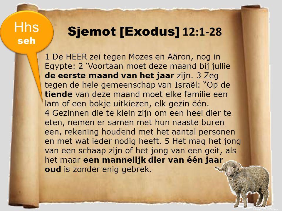 Sjemot [Exodus] 12:1-28 1 De HEER zei tegen Mozes en Aäron, nog in Egypte: 2 'Voortaan moet deze maand bij jullie de eerste maand van het jaar zijn.