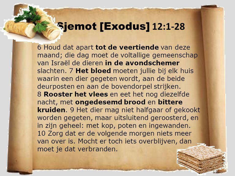 Sjemot [Exodus] 12:1-28 6 Houd dat apart tot de veertiende van deze maand; die dag moet de voltallige gemeenschap van Israël de dieren in de avondschemer slachten.