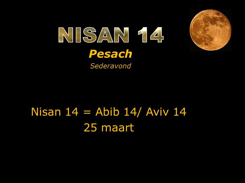Nisan 14 = Abib 14/ Aviv 14 25 maart Pesach Sederavond