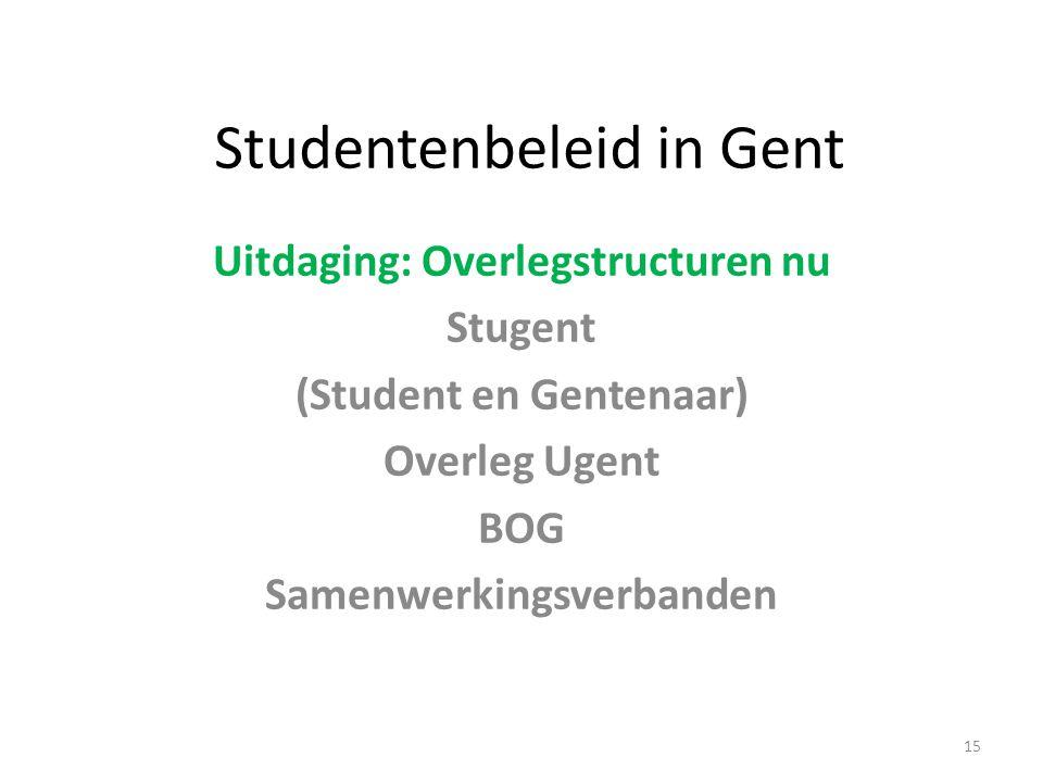 Studentenbeleid in Gent Uitdaging: Overlegstructuren nu Stugent (Student en Gentenaar) Overleg Ugent BOG Samenwerkingsverbanden 15