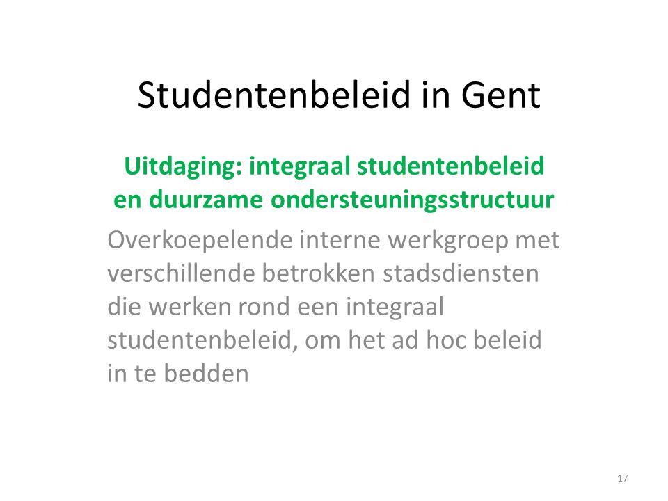 Studentenbeleid in Gent Uitdaging: integraal studentenbeleid en duurzame ondersteuningsstructuur Overkoepelende interne werkgroep met verschillende betrokken stadsdiensten die werken rond een integraal studentenbeleid, om het ad hoc beleid in te bedden 17