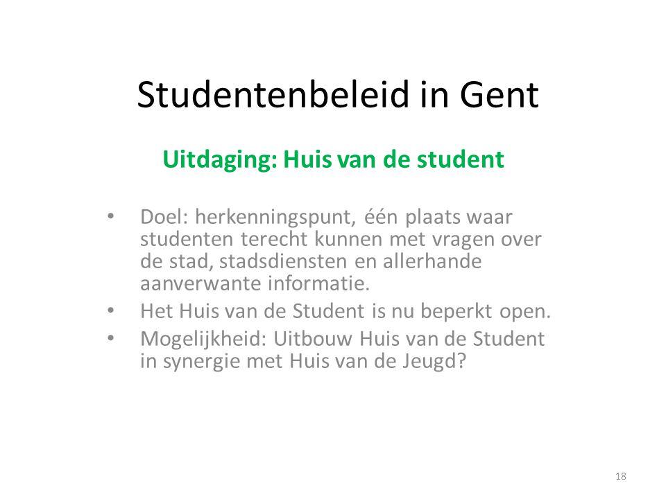 Studentenbeleid in Gent Uitdaging: Huis van de student Doel: herkenningspunt, één plaats waar studenten terecht kunnen met vragen over de stad, stadsdiensten en allerhande aanverwante informatie.