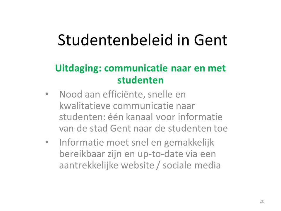 Studentenbeleid in Gent Uitdaging: communicatie naar en met studenten Nood aan efficiënte, snelle en kwalitatieve communicatie naar studenten: één kanaal voor informatie van de stad Gent naar de studenten toe Informatie moet snel en gemakkelijk bereikbaar zijn en up-to-date via een aantrekkelijke website / sociale media 20