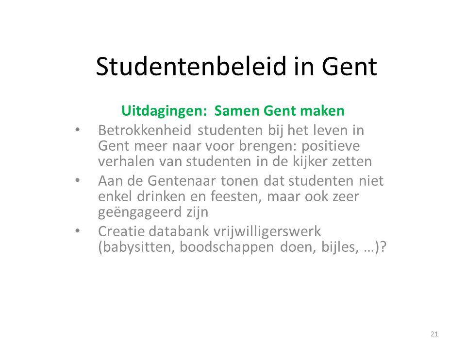 Studentenbeleid in Gent Uitdagingen: Samen Gent maken Betrokkenheid studenten bij het leven in Gent meer naar voor brengen: positieve verhalen van stu