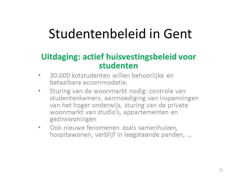 Studentenbeleid in Gent Uitdaging: actief huisvestingsbeleid voor studenten 30.000 kotstudenten willen behoorlijke en betaalbare accommodatie. Sturing