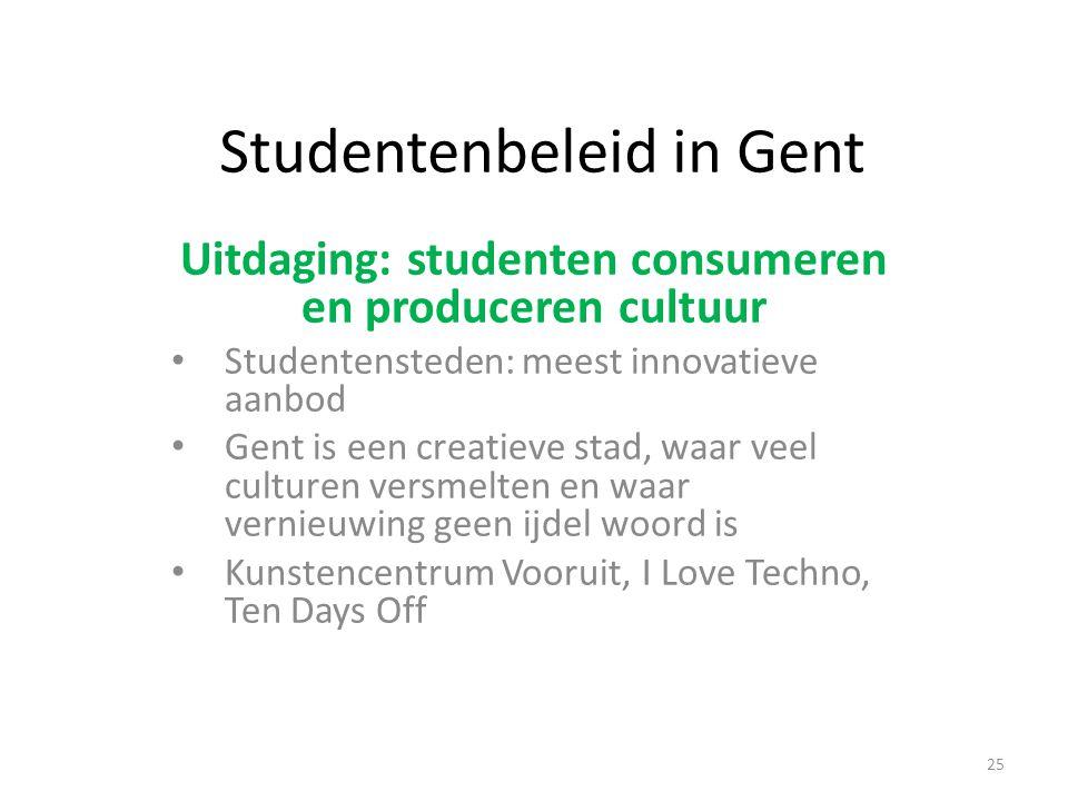 Studentenbeleid in Gent Uitdaging: studenten consumeren en produceren cultuur Studentensteden: meest innovatieve aanbod Gent is een creatieve stad, waar veel culturen versmelten en waar vernieuwing geen ijdel woord is Kunstencentrum Vooruit, I Love Techno, Ten Days Off 25