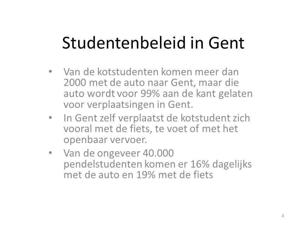 Studentenbeleid in Gent Van de kotstudenten komen meer dan 2000 met de auto naar Gent, maar die auto wordt voor 99% aan de kant gelaten voor verplaats
