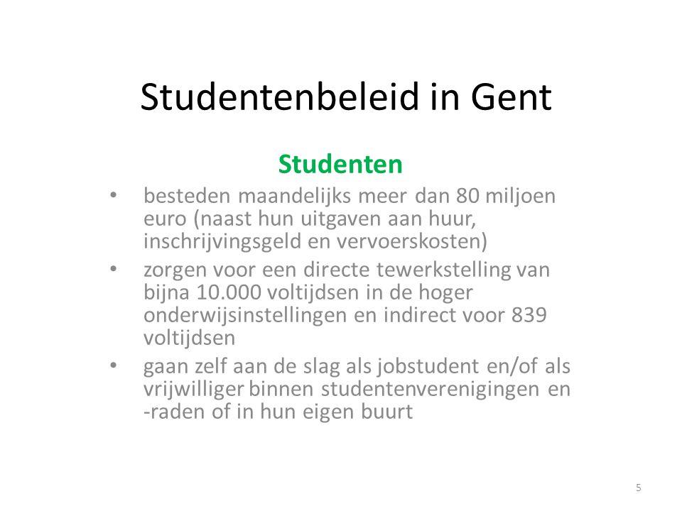 Studentenbeleid in Gent Studenten besteden maandelijks meer dan 80 miljoen euro (naast hun uitgaven aan huur, inschrijvingsgeld en vervoerskosten) zorgen voor een directe tewerkstelling van bijna 10.000 voltijdsen in de hoger onderwijsinstellingen en indirect voor 839 voltijdsen gaan zelf aan de slag als jobstudent en/of als vrijwilliger binnen studentenverenigingen en -raden of in hun eigen buurt 5