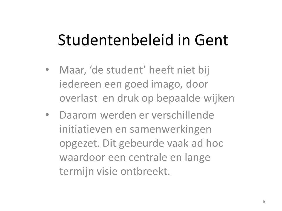 Studentenbeleid in Gent Maar, 'de student' heeft niet bij iedereen een goed imago, door overlast en druk op bepaalde wijken Daarom werden er verschill