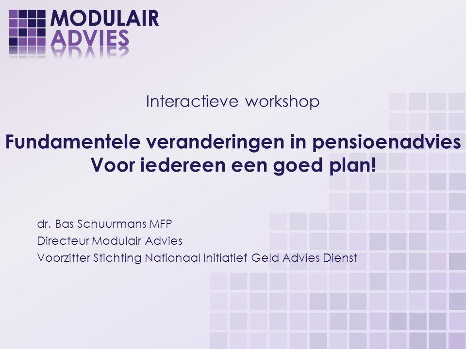 Even voorstellen Proefschrift (2011): Fundamentele veranderingen in persoonlijk financieel advies Basis van mijn huidig werk: Modulair Advies Nationaal Initiatief Geld Advies Dienst