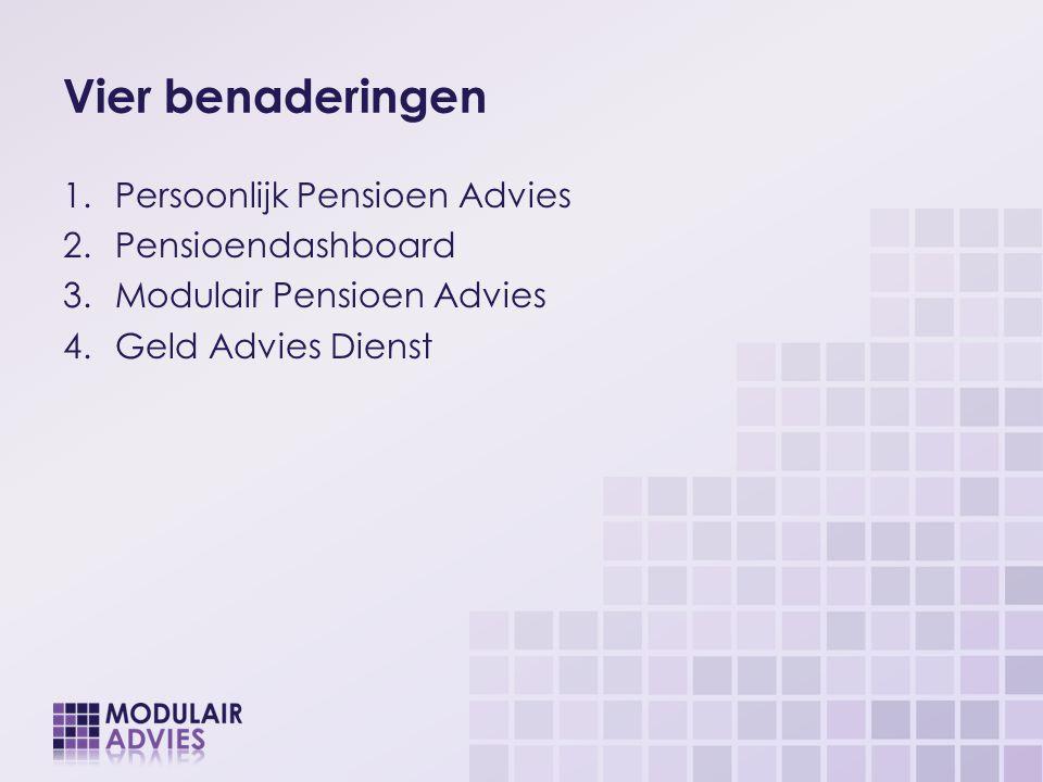 Vier benaderingen 1.Persoonlijk Pensioen Advies 2.Pensioendashboard 3.Modulair Pensioen Advies 4.Geld Advies Dienst