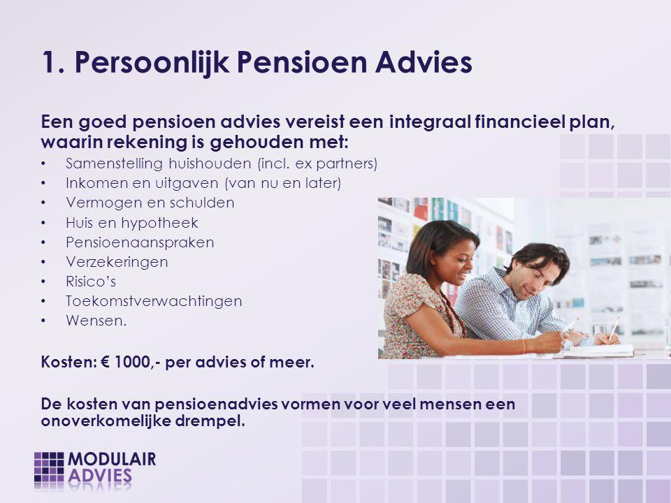 1. Persoonlijk Pensioen Advies Een goed pensioen advies vereist een integraal financieel plan, waarin rekening is gehouden met: Samenstelling huishoud