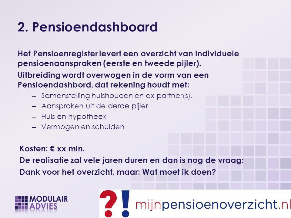 2. Pensioendashboard Het Pensioenregister levert een overzicht van individuele pensioenaanspraken (eerste en tweede pijler). Uitbreiding wordt overwog