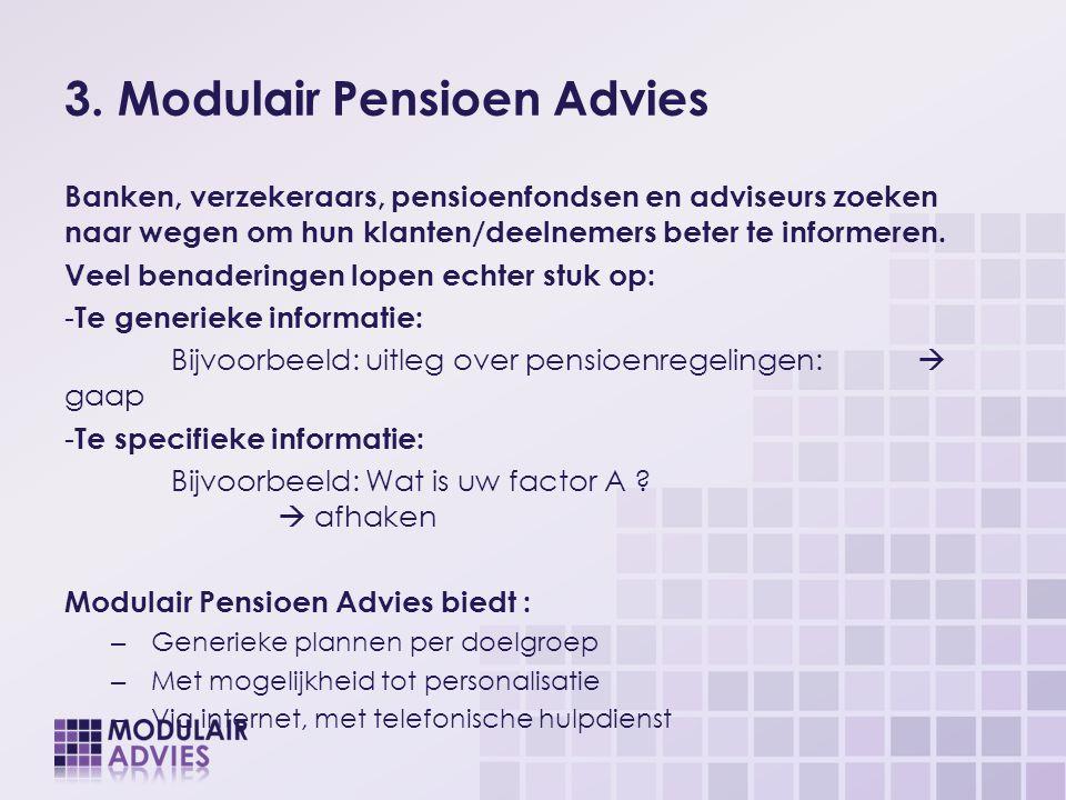 3. Modulair Pensioen Advies Banken, verzekeraars, pensioenfondsen en adviseurs zoeken naar wegen om hun klanten/deelnemers beter te informeren. Veel b