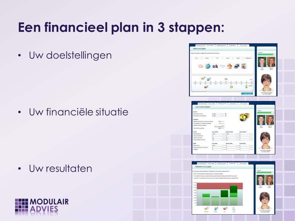 Een financieel plan in 3 stappen: Uw doelstellingen Uw financiële situatie Uw resultaten