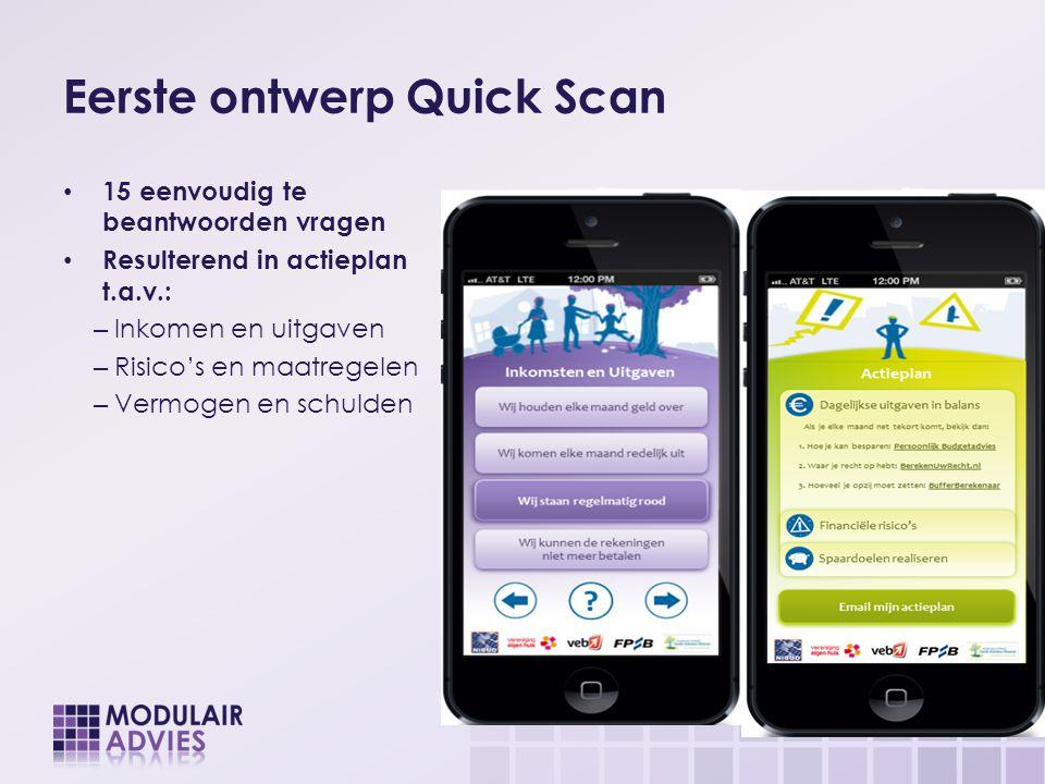 Eerste ontwerp Quick Scan 15 eenvoudig te beantwoorden vragen Resulterend in actieplan t.a.v.: – Inkomen en uitgaven – Risico's en maatregelen – Vermo