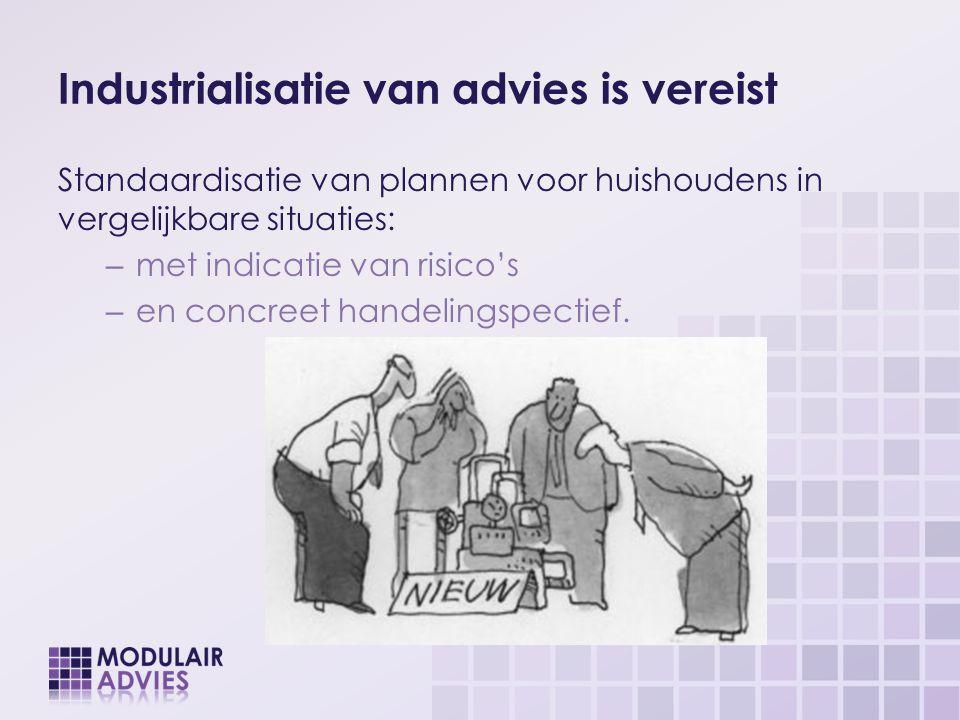 Industrialisatie van advies is vereist Standaardisatie van plannen voor huishoudens in vergelijkbare situaties: – met indicatie van risico's – en conc