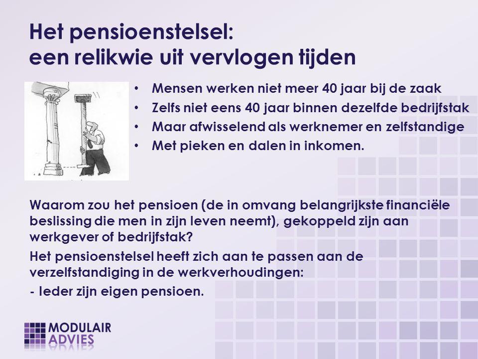 Het pensioenstelsel: een relikwie uit vervlogen tijden Mensen werken niet meer 40 jaar bij de zaak Zelfs niet eens 40 jaar binnen dezelfde bedrijfstak