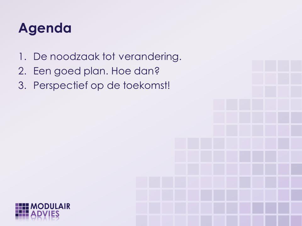 Agenda 1.De noodzaak tot verandering. 2.Een goed plan. Hoe dan? 3.Perspectief op de toekomst!