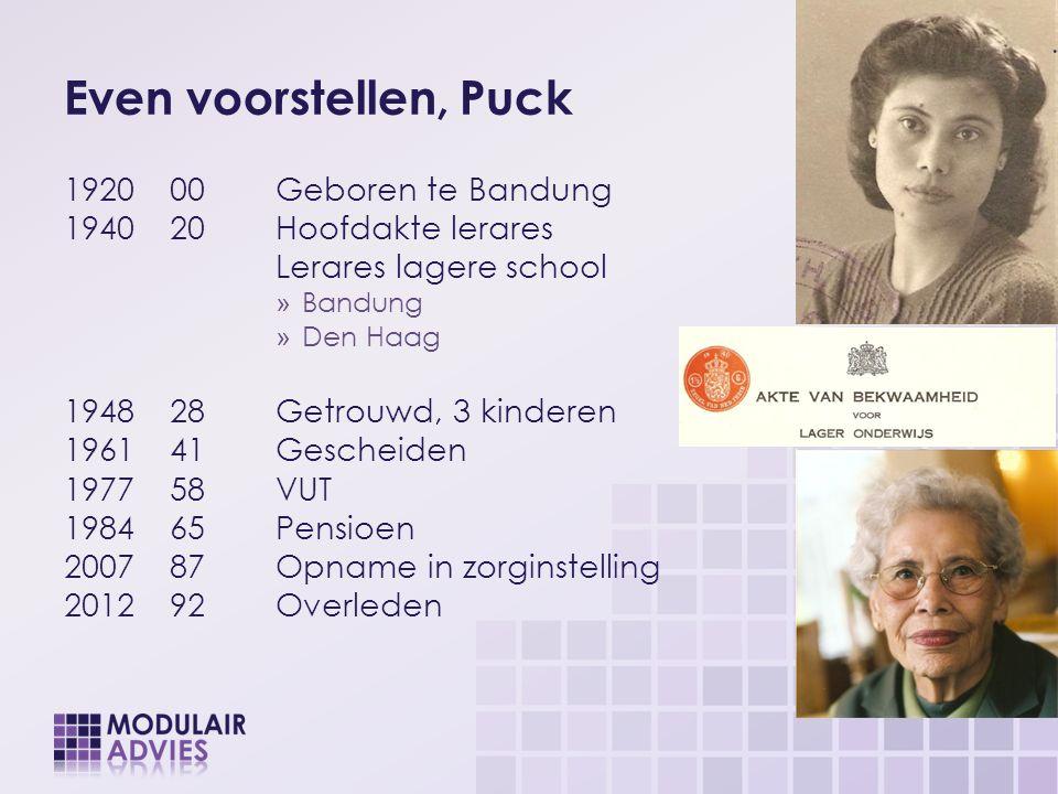 Even voorstellen, Puck 192000Geboren te Bandung 194020Hoofdakte lerares Lerares lagere school » Bandung » Den Haag 194828Getrouwd, 3 kinderen 196141Ge