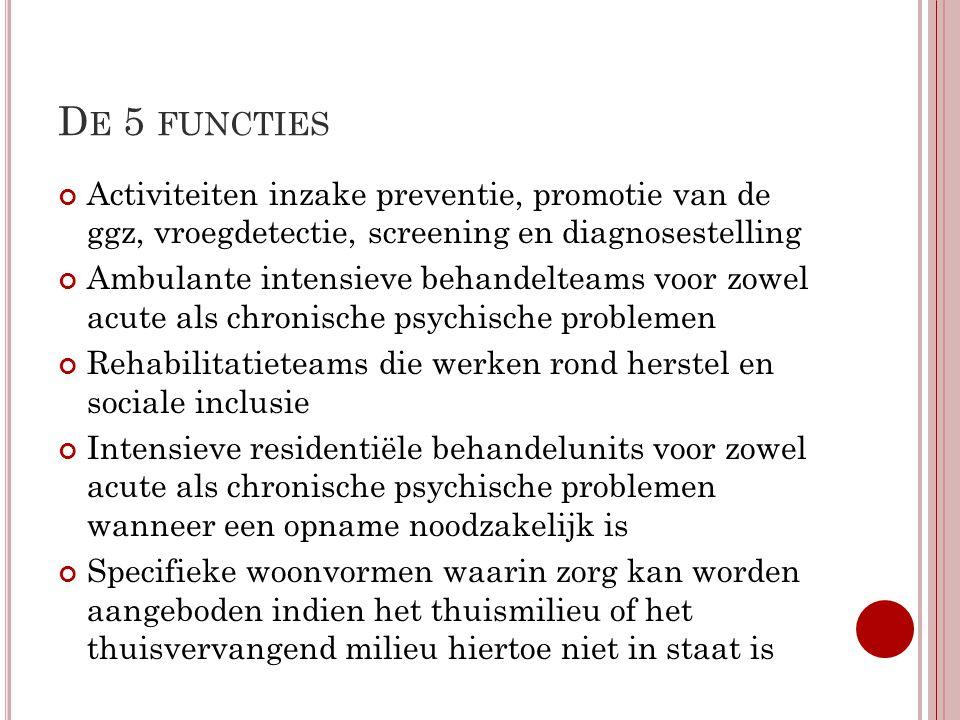 D E 5 FUNCTIES Activiteiten inzake preventie, promotie van de ggz, vroegdetectie, screening en diagnosestelling Ambulante intensieve behandelteams voo