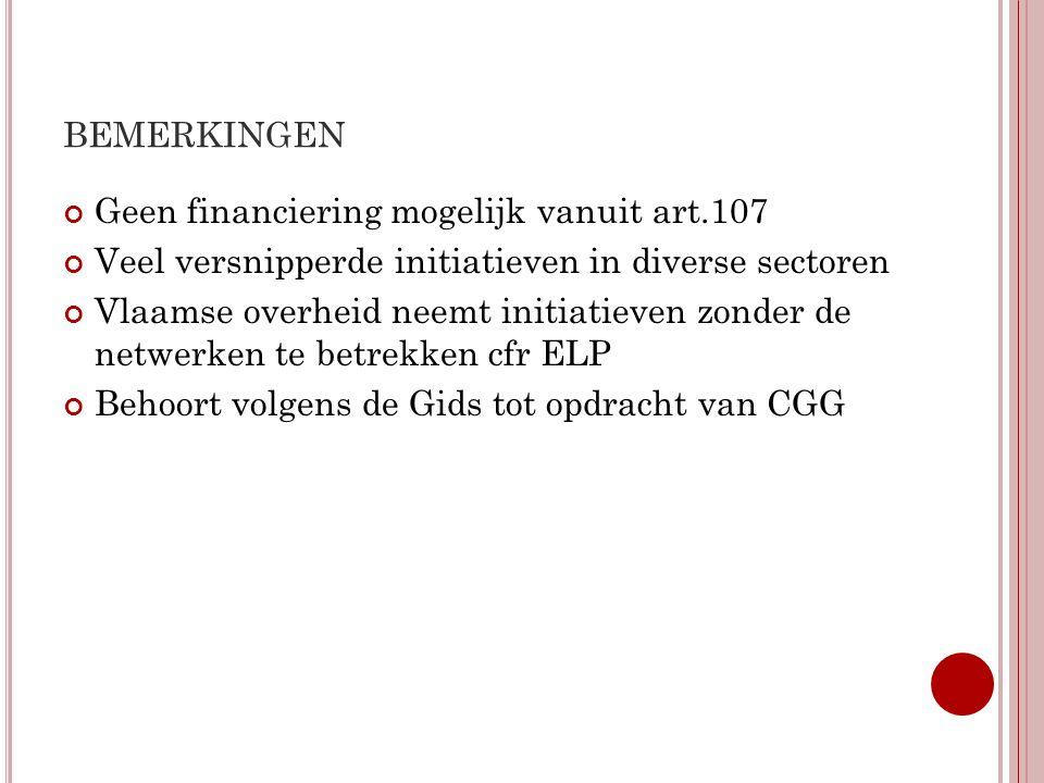 BEMERKINGEN Geen financiering mogelijk vanuit art.107 Veel versnipperde initiatieven in diverse sectoren Vlaamse overheid neemt initiatieven zonder de