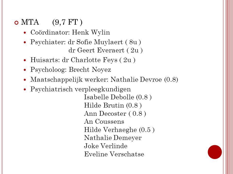 MTA (9,7 FT ) Coördinator: Henk Wylin Psychiater: dr Sofie Muylaert ( 8u ) dr Geert Everaert ( 2u ) Huisarts: dr Charlotte Feys ( 2u ) Psycholoog: Bre