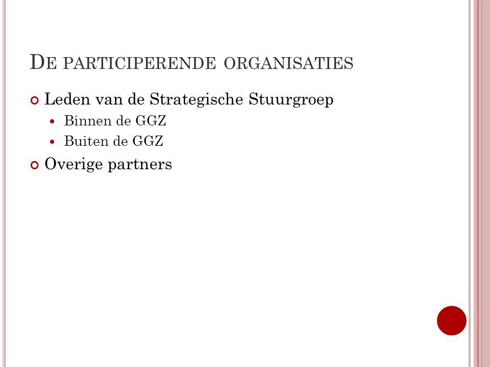 D E PARTICIPERENDE ORGANISATIES Leden van de Strategische Stuurgroep Binnen de GGZ Buiten de GGZ Overige partners
