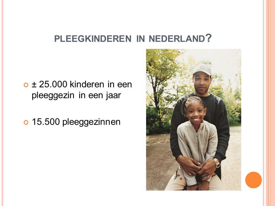PLEEGKINDEREN IN NEDERLAND ? ± 25.000 kinderen in een pleeggezin in een jaar 15.500 pleeggezinnen