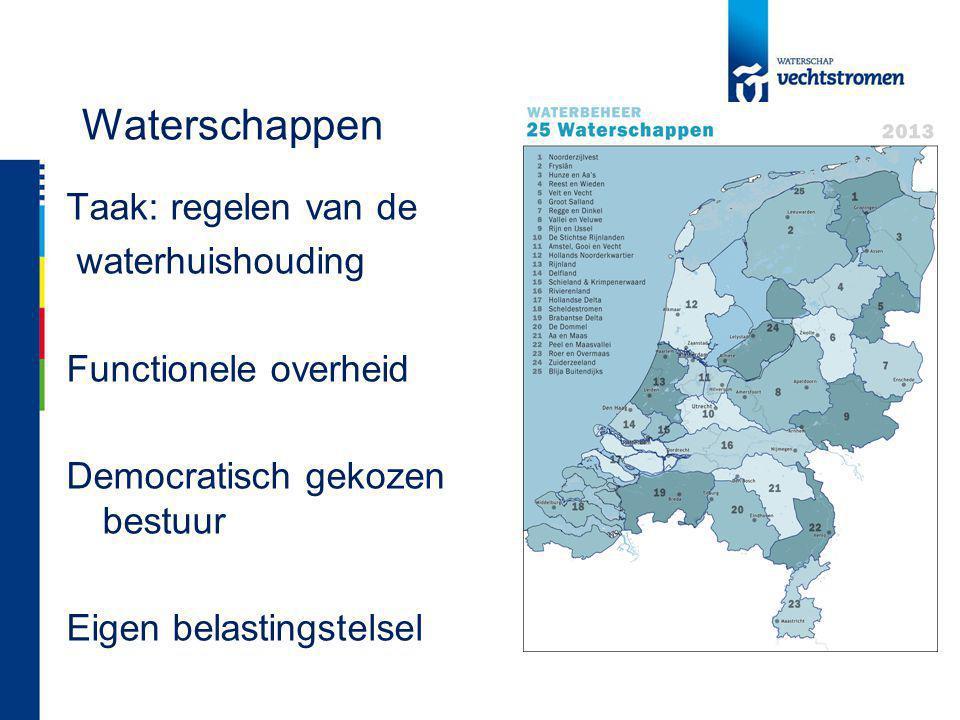 Waterschappen Taak: regelen van de waterhuishouding Functionele overheid Democratisch gekozen bestuur Eigen belastingstelsel