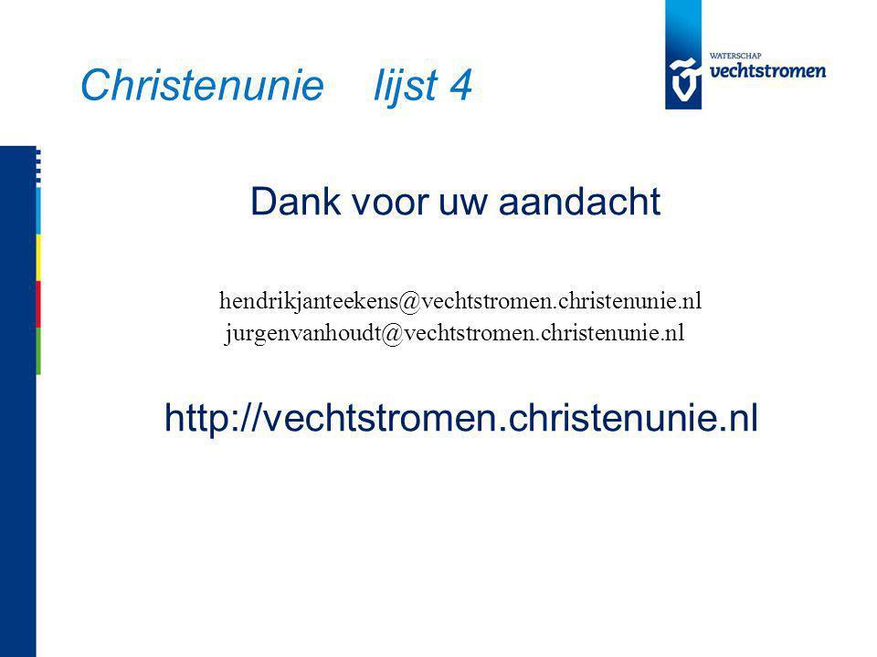 Dank voor uw aandacht hendrikjanteekens@vechtstromen.christenunie.nl jurgenvanhoudt@vechtstromen.christenunie.nl http://vechtstromen.christenunie.nl Christenunie lijst 4