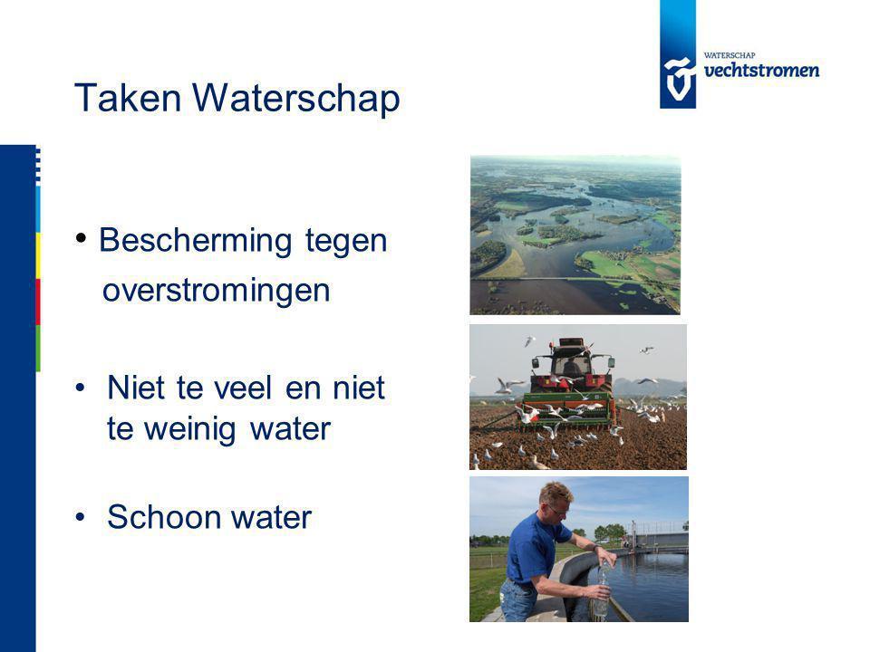 Taken Waterschap Bescherming tegen overstromingen Niet te veel en niet te weinig water Schoon water