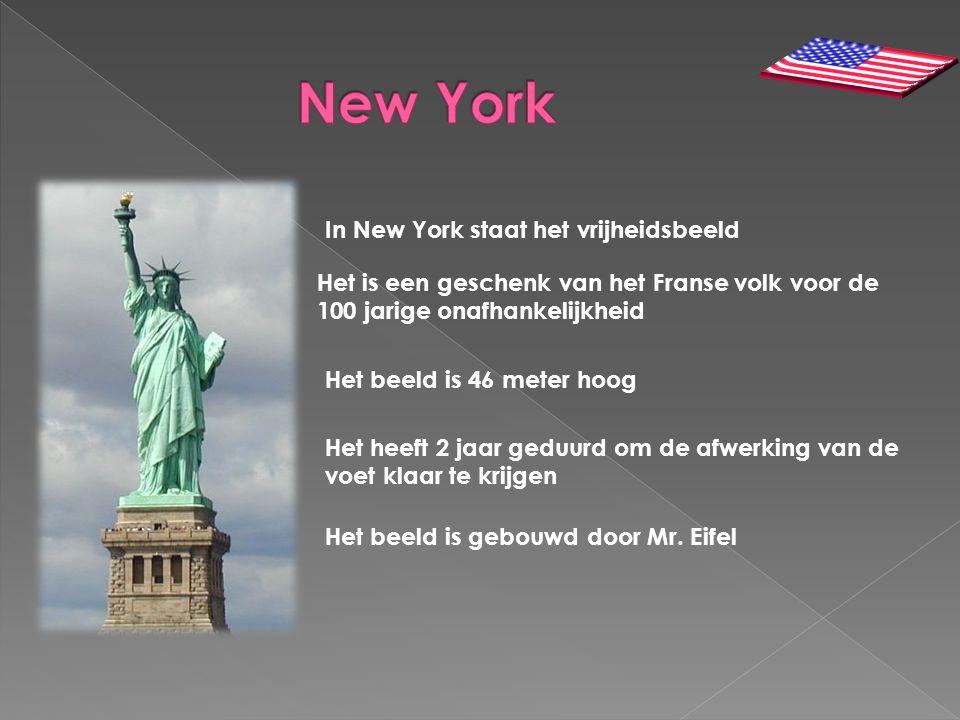 In New York staat het vrijheidsbeeld Het is een geschenk van het Franse volk voor de 100 jarige onafhankelijkheid Het beeld is 46 meter hoog Het heeft