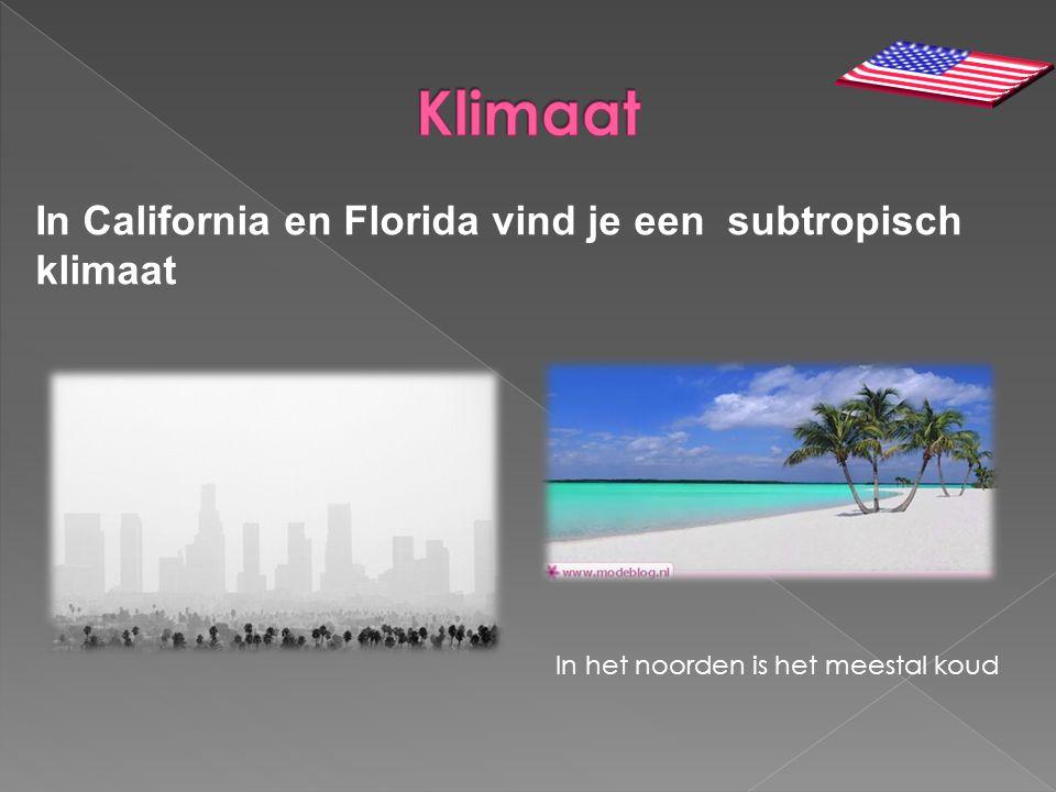 In California en Florida vind je een subtropisch klimaat In het noorden is het meestal koud