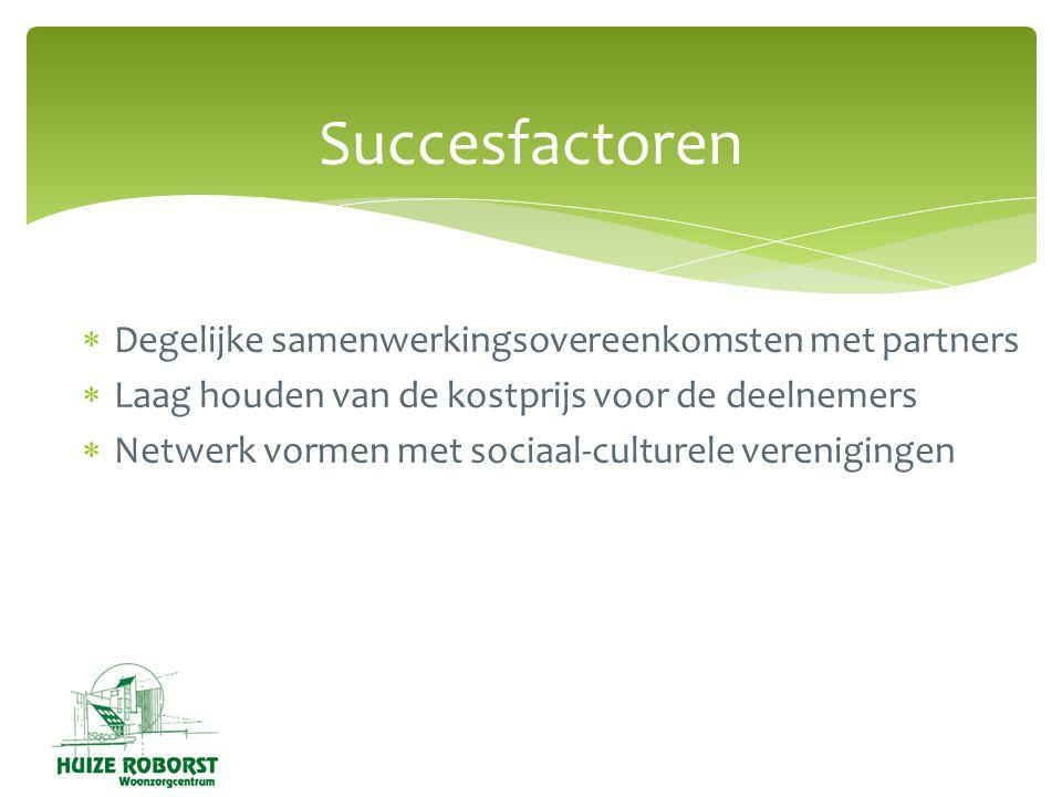  Degelijke samenwerkingsovereenkomsten met partners  Laag houden van de kostprijs voor de deelnemers  Netwerk vormen met sociaal-culturele verenigingen Succesfactoren