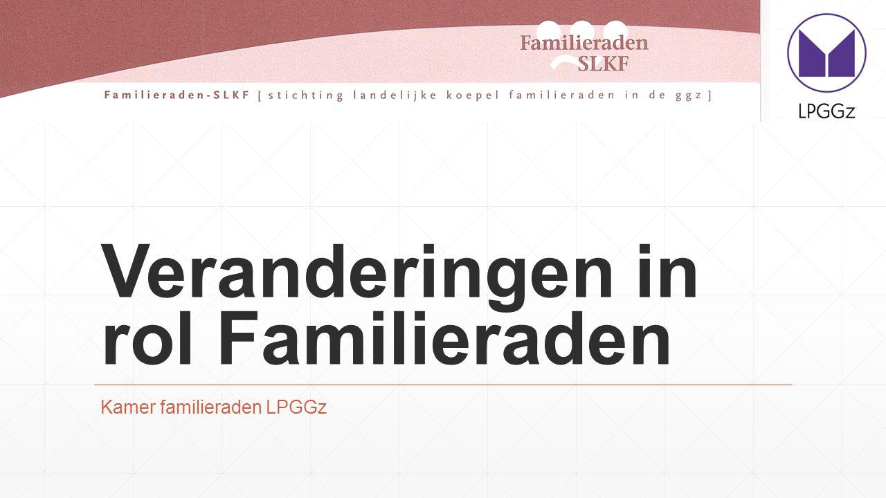 Inhoud ▪Ontwikkelingen ▪Gevolgen m.b.t familie en naasten ▪Doelstelling SLKF versus Kamer Familieraden LPGGz ▪Rol Familieraden