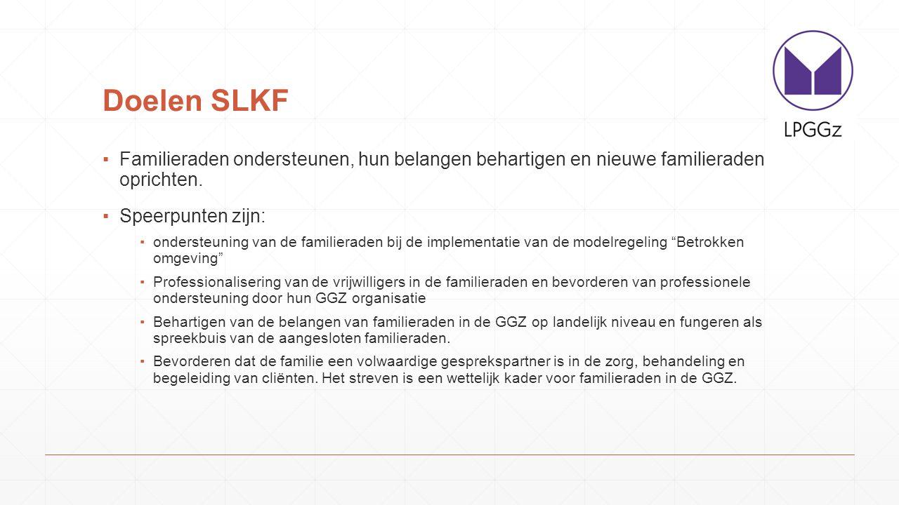 Doelen SLKF ▪Familieraden ondersteunen, hun belangen behartigen en nieuwe familieraden oprichten.