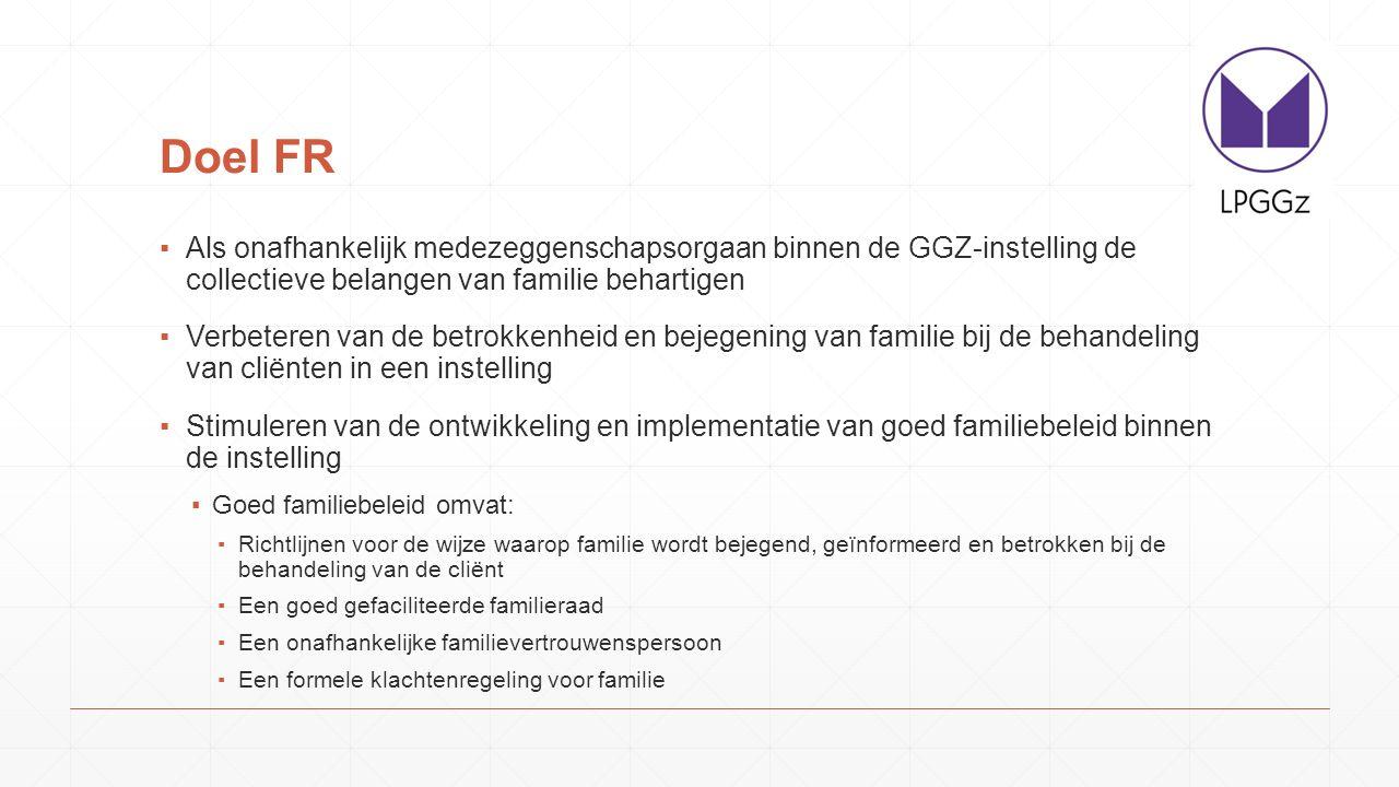 Doel FR ▪Als onafhankelijk medezeggenschapsorgaan binnen de GGZ-instelling de collectieve belangen van familie behartigen ▪Verbeteren van de betrokken