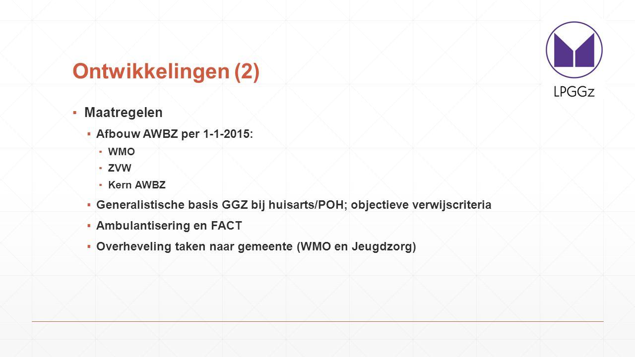 Ontwikkelingen (3) ▪Begeleid wonen GGZ naar gemeente in 2015 (WMO) ▪Begeleiding/dagbesteding naar gemeente (WMO) ▪Langdurige behandeling naar instelling (ZVW) ▪Alle intramurale zorg naar instelling (ZVW) ▪Richtlijnen voor scheiding zorg op basis van WMO of ZVW ▪CIZ bepaalt recht op aanspraken ZVW
