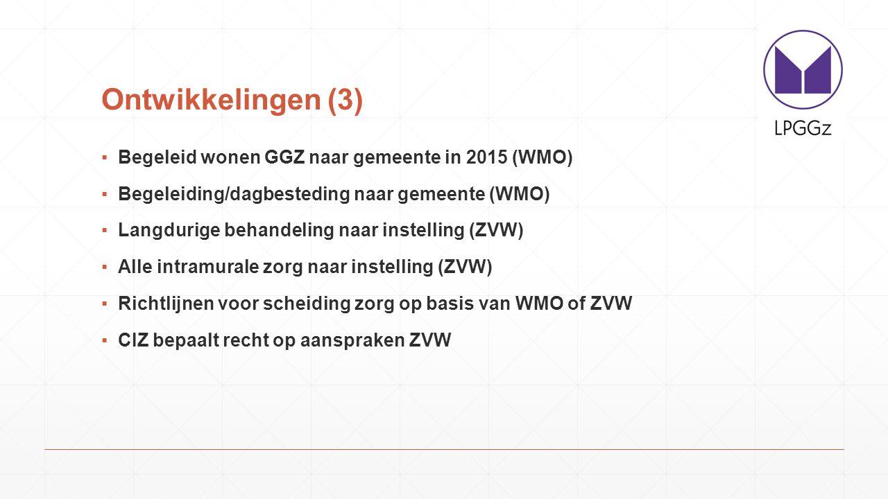 Ontwikkelingen (3) ▪Begeleid wonen GGZ naar gemeente in 2015 (WMO) ▪Begeleiding/dagbesteding naar gemeente (WMO) ▪Langdurige behandeling naar instelli