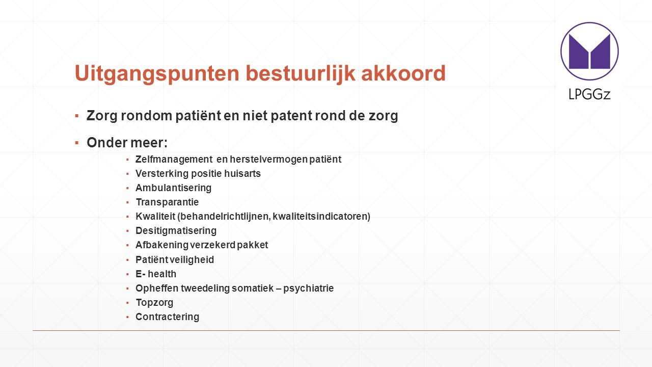 Uitgangspunten bestuurlijk akkoord ▪Zorg rondom patiënt en niet patent rond de zorg ▪Onder meer: ▪Zelfmanagement en herstelvermogen patiënt ▪Versterki