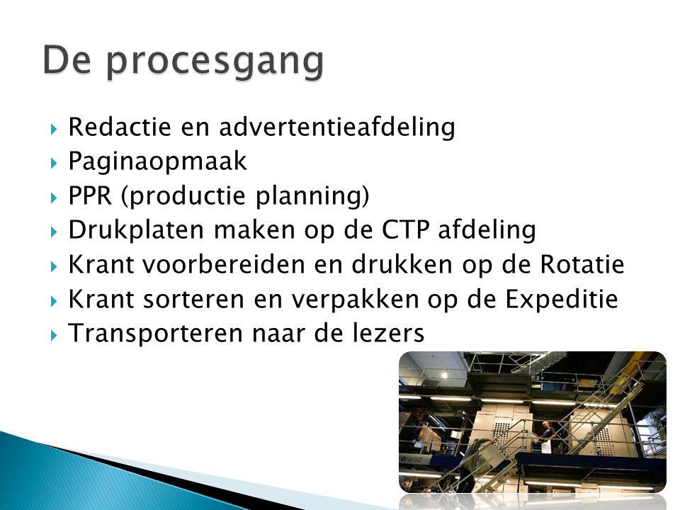  Redactie en advertentieafdeling  Paginaopmaak  PPR (productie planning)  Drukplaten maken op de CTP afdeling  Krant voorbereiden en drukken op d