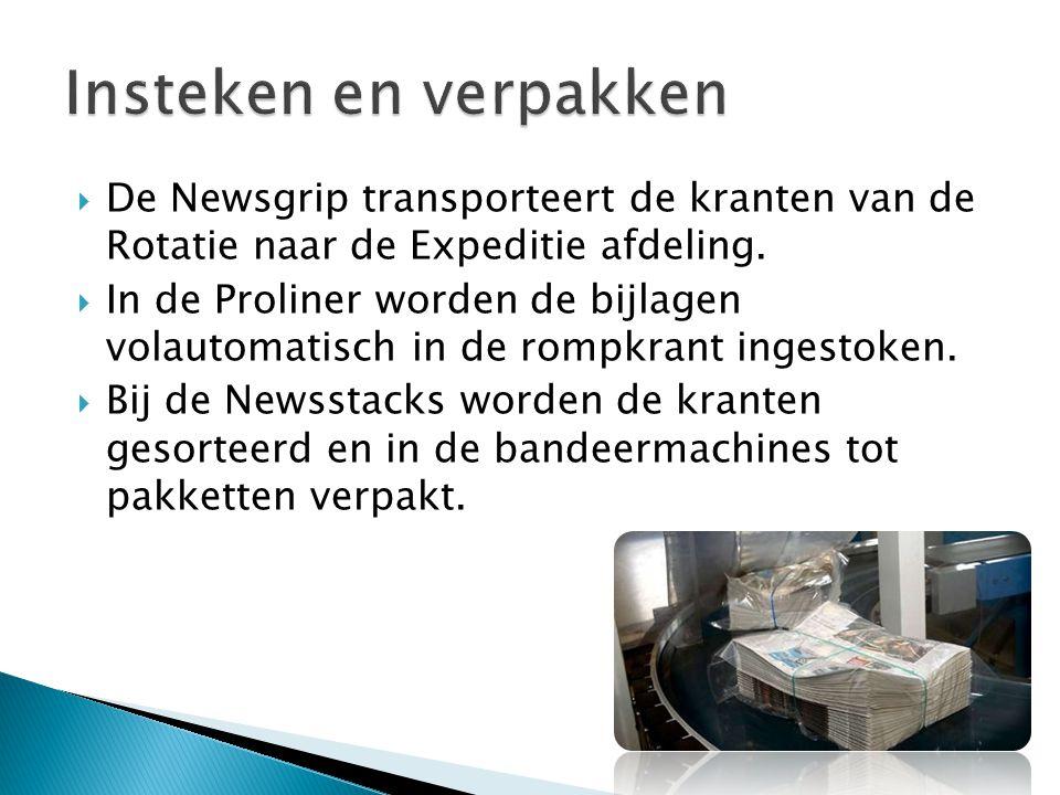  De Newsgrip transporteert de kranten van de Rotatie naar de Expeditie afdeling.  In de Proliner worden de bijlagen volautomatisch in de rompkrant i
