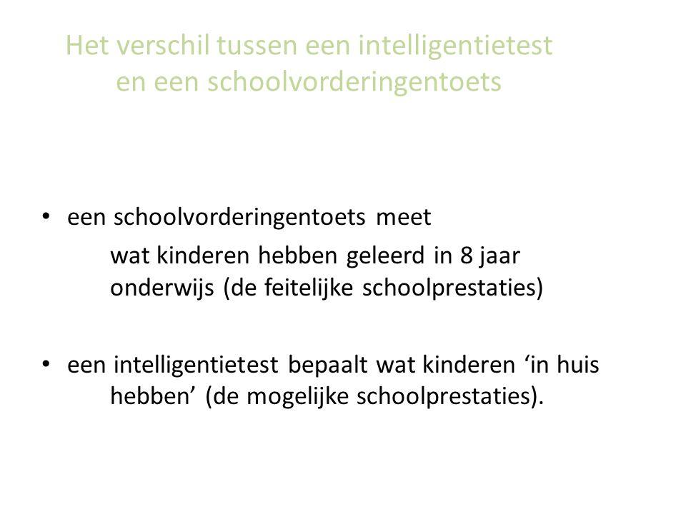 Het verschil tussen een intelligentietest en een schoolvorderingentoets een schoolvorderingentoets meet wat kinderen hebben geleerd in 8 jaar onderwijs (de feitelijke schoolprestaties) een intelligentietest bepaalt wat kinderen 'in huis hebben' (de mogelijke schoolprestaties).