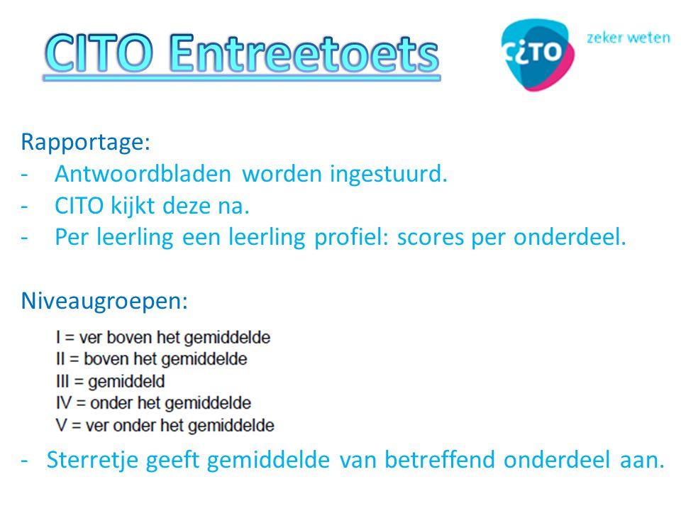 Rapportage: -Antwoordbladen worden ingestuurd.-CITO kijkt deze na.