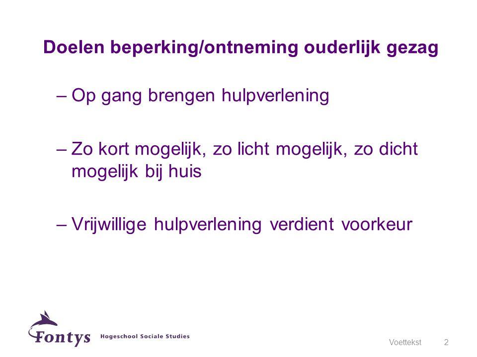 Ondertoezichtstelling Ontheffing Ontzetting Voorlopige maatregelen Voettekst3 Inbreuken op ouderlijk gezag