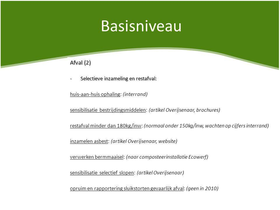 Basisniveau Afval (2) -Selectieve inzameling en restafval: huis-aan-huis ophaling: (interrand) sensibilisatie bestrijdingsmiddelen: (artikel Overijsenaar, brochures) restafval minder dan 180kg/inw: (normaal onder 150kg/inw, wachten op cijfers interrand) inzamelen asbest: (artikel Overijsenaar, website) verwerken bermmaaisel: (naar composteerinstallatie Ecowerf) sensibilisatie selectief slopen: (artikel Overijsenaar) opruim en rapportering sluikstorten gevaarlijk afval: (geen in 2010)