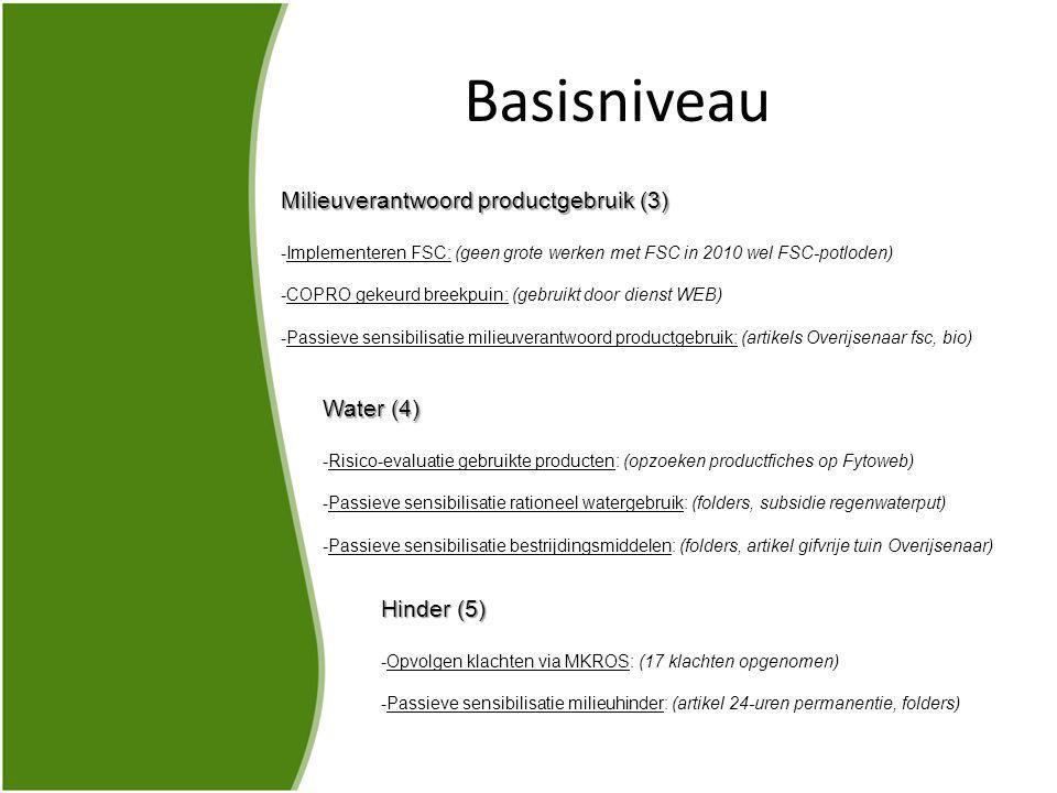 Basisniveau Milieuverantwoord productgebruik (3) -Implementeren FSC: (geen grote werken met FSC in 2010 wel FSC-potloden) -COPRO gekeurd breekpuin: (gebruikt door dienst WEB) -Passieve sensibilisatie milieuverantwoord productgebruik: (artikels Overijsenaar fsc, bio) Water (4) -Risico-evaluatie gebruikte producten: (opzoeken productfiches op Fytoweb) -Passieve sensibilisatie rationeel watergebruik: (folders, subsidie regenwaterput) -Passieve sensibilisatie bestrijdingsmiddelen: (folders, artikel gifvrije tuin Overijsenaar) Hinder (5) -Opvolgen klachten via MKROS: (17 klachten opgenomen) -Passieve sensibilisatie milieuhinder: (artikel 24-uren permanentie, folders)